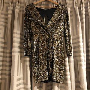 Short Faux Wrap Sequins Dress